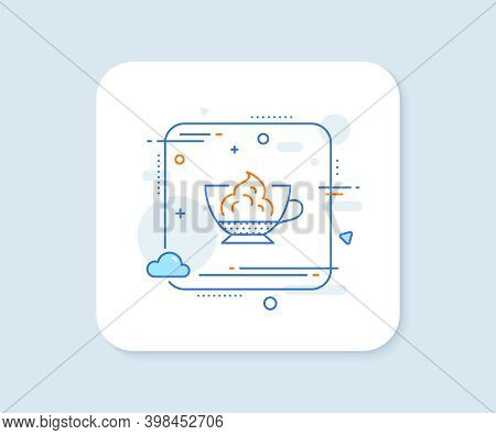 Espresso With Whipped Cream Icon. Abstract Square Vector Button. Hot Coffee Drink Sign. Beverage Sym