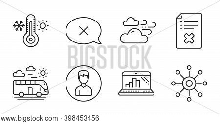 Reject, Person And Reject File Line Icons Set. Windy Weather, Multichannel And Bus Travel Signs. The