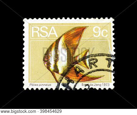 South Africa - Circa 1973 : Cancelled Postage Stamp Printed By South Africa, That Shows Platax Pinna