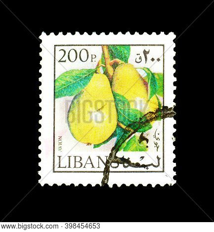 Lebanon - Circa 1975 : Cancelled Postage Stamp Printed By Lebanon, That Shows Pears, Circa 1975.
