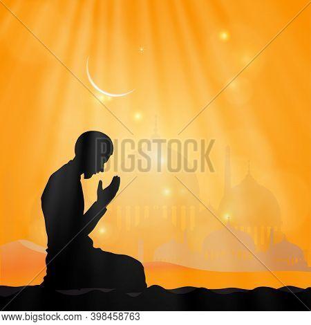 Islamic Prayer,silhouette Muslim Man Making A Supplication (salah)sitting On Desert,arab Person In T