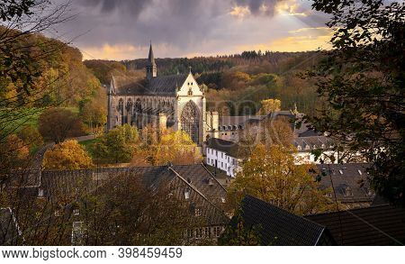 Odenthal, Germany - November 8, 2020: Panoramic Image Of The Altenberg Cathedral In Autumnal Light O