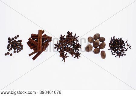 Dried Allspice, Cinnamon, Anise, Nutmeg And Cloves