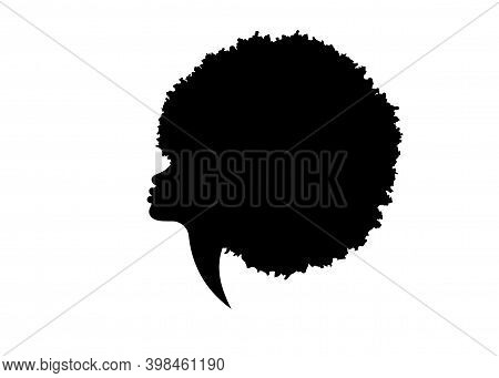 Portrait African American Woman Face Profile. Black Logo Women Silhouette With Fashion Curly Afro Ha