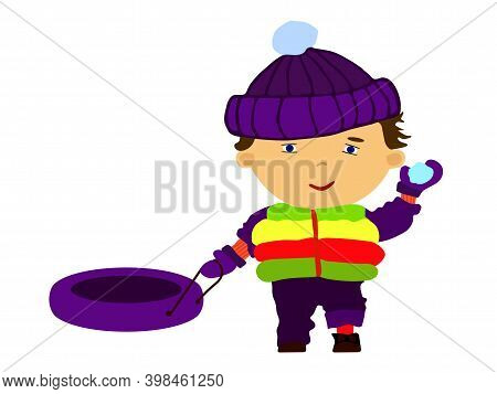 Winter Tube And Children. Funny Happy Boy Throwing A Snowball. Flat Illustration In Cartoon Style Is