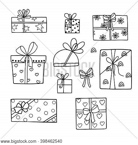 Gift Boxes Set With Bows And Ribbons Vector Illustration Simple Outline Hand Drawn Style For St Vale