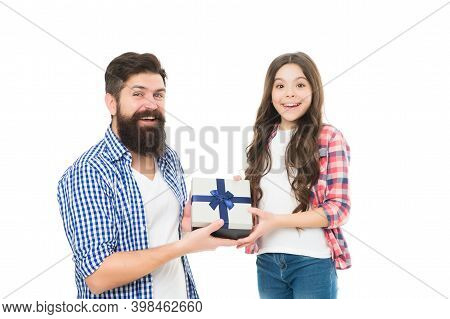 Time For Celebrating. Small Child And Bearded Man Enjoy Celebrating. Happy Family Celebrate Holiday.