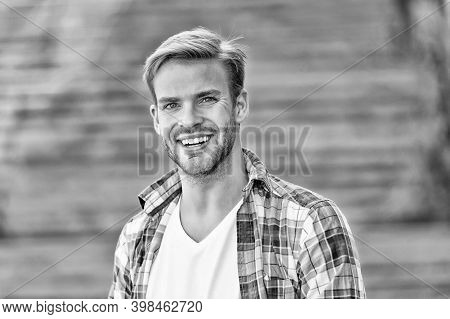 Handsome And Happy. Handsome Guy Smile Outdoors. Handsome Look Of Young Man. Male Grooming. Hair Sal