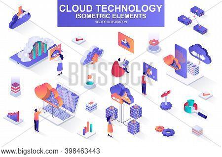 Cloud Technology Bundle Of Isometric Elements. Server Rack, Hosting Provider, Information Network, D