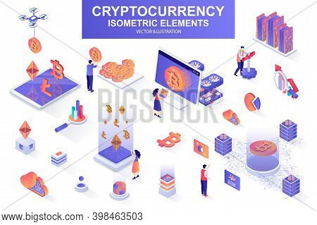 Cryptocurrency Bundle Of Isometric Elements. Bitcoin, Litecoin And Ethereum Cryptocurrency, Mining H