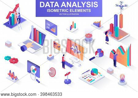 Data Analysis Bundle Of Isometric Elements. Growing Chart, Business Infographics, Research Tools, An