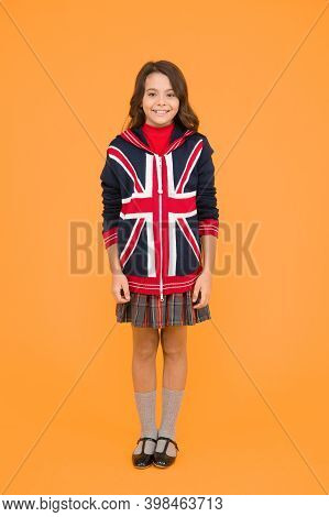 Culture And Customs. Small Girl School Uniform. English Student. Education And Upbringing. Language