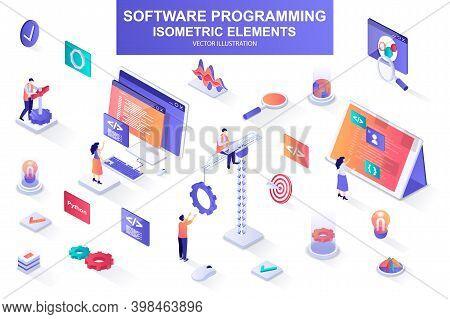 Software Programming Bundle Of Isometric Elements. Program Languages, Developer, Software Engineerin