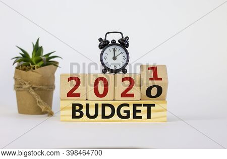 Business And New Year Concept Of Budget Planning 2021. Fliped Wooden Cube And Changed Words 'budget