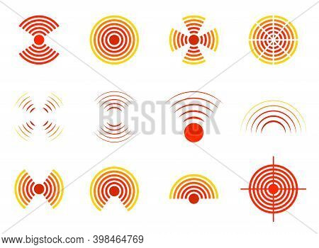 Pain Icon. Pain Circle With Point. Target Of Therapy In Throat, Migraine, Headache, Stomach, Muscle,
