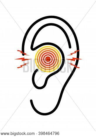 Ear Icon With Pain. Otitis From Infection. Earache With Tinnitus. Ache In Middle Ear With Deaf. Symb