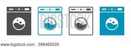 Icon Of Laundry Machine. Logo Of Wash Service. Symbol Of Washing, Clean, Dryer. Laundromat Of Clothe