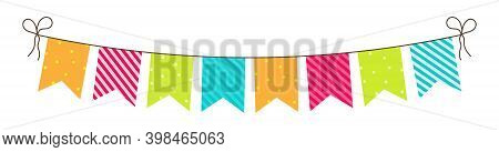 Party Bunting. Birthday Flags And Garland. Fun Decoration For Celebration. Hanging Carnival Buntings
