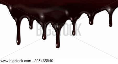 Melted Dark Chocolate Dripping Isolated On White Background. Vector 3d Realistic Illustration Of Liq