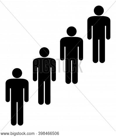 People Queue Icon With Flat Style. Isolated Vector People Queue Icon Image On A White Background.
