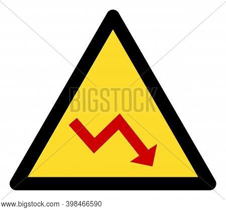 Recession Warning Icon With Flat Style. Isolated Vector Recession Warning Icon Image On A White Back