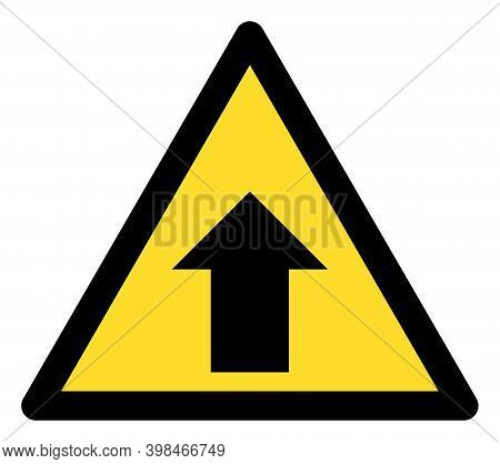 Up Direction Warning Icon With Flat Style. Isolated Vector Up Direction Warning Icon Image On A Whit