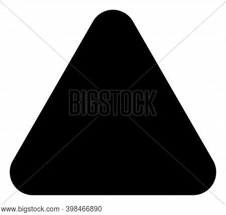 Rounded Triangle Icon With Flat Style. Isolated Vector Rounded Triangle Icon Image On A White Backgr