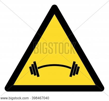 Heavy Barbell Warning Icon With Flat Style. Isolated Vector Heavy Barbell Warning Icon Image On A Wh