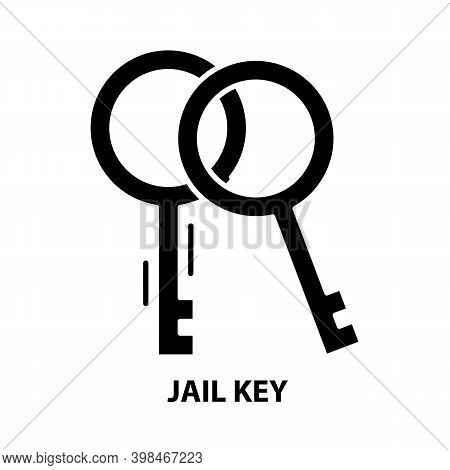 Jail Key Icon, Black Vector Sign With Editable Strokes, Concept Illustration