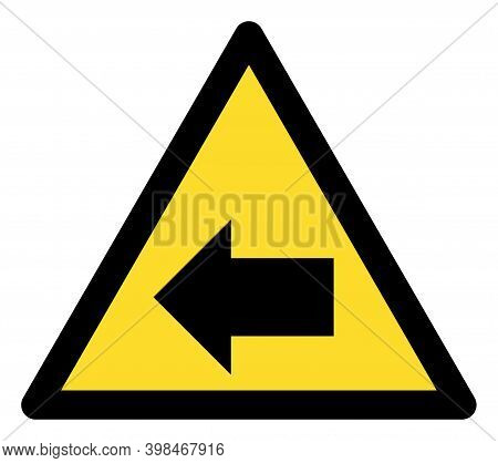 Left Direction Warning Icon With Flat Style. Isolated Vector Left Direction Warning Icon Image On A