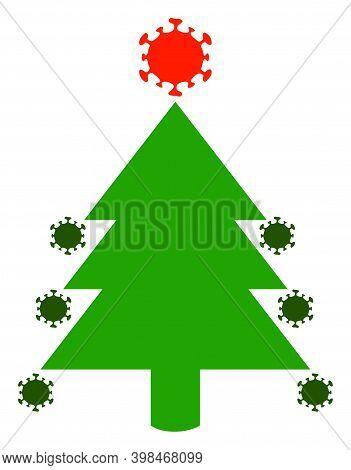 Coronavirus Fir-tree Icon With Flat Style. Isolated Vector Coronavirus Fir-tree Icon Image On A Whit