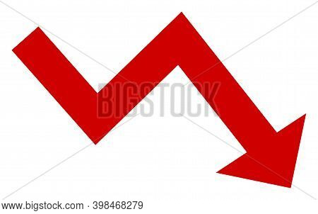 Recession Arrow Icon With Flat Style. Isolated Vector Recession Arrow Icon Image On A White Backgrou