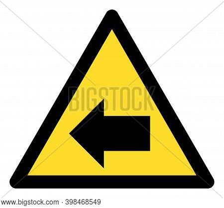 Left Direction Warning Icon With Flat Style. Isolated Raster Left Direction Warning Icon Image On A