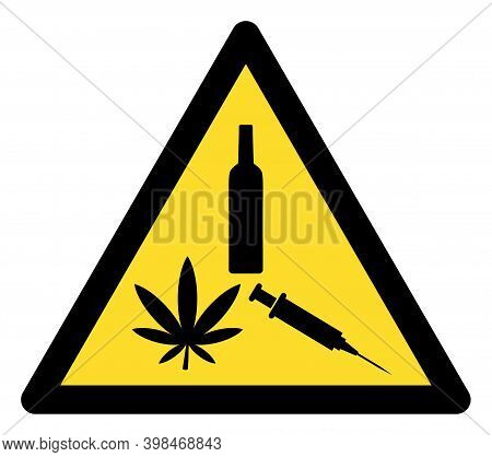 Narcotic Drugs Warning Icon With Flat Style. Isolated Raster Narcotic Drugs Warning Icon Image On A