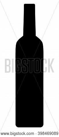 Wine Bottle Icon With Flat Style. Isolated Raster Wine Bottle Icon Image On A White Background.