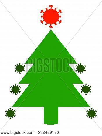 Coronavirus Fir-tree Icon With Flat Style. Isolated Raster Coronavirus Fir-tree Icon Image On A Whit