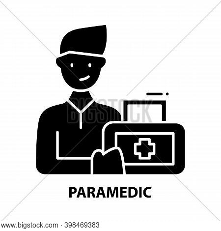 Paramedic Icon, Black Vector Sign With Editable Strokes, Concept Illustration