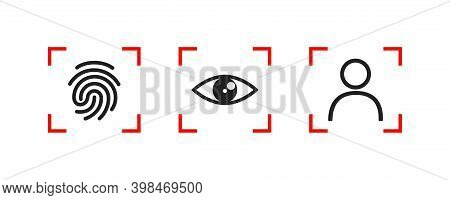 Biometric Authentication Vector Illustration. Set Of Face Recognition And Fingerprint Icon, Simple C