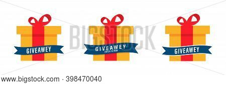 Gift Box With Red Ribbon. Set Of Giveaway Box . Social Media Contest On White Background. Giveaway I
