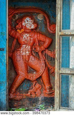 Hampi, Karnataka, India - November 4, 2013: Virupaksha Temple Complex. Closeup Of Red Painted Mural