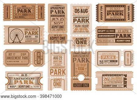 Amusement Park Ticket Vector Templates. Circus Carnival Show Retro Admission Coupons, Admit One And