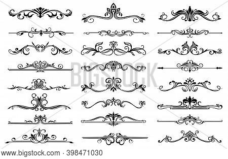 Floral Frame Border Lines And Dividers Vector Set. Ornate Flower Elements And Vintage Ornaments With