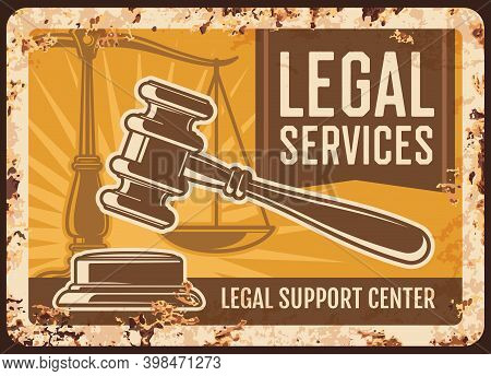 Notary Service Rusty Metal Plate, Vector Notarial Office Legal Support Center Vintage Rust Tin Sign