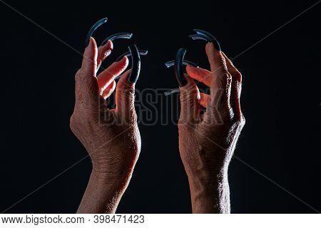 Old Woman Hands. Elderly Woman, Wrinkled Hand. Old Lady Arms, Freckles. Isolated Black Background. F