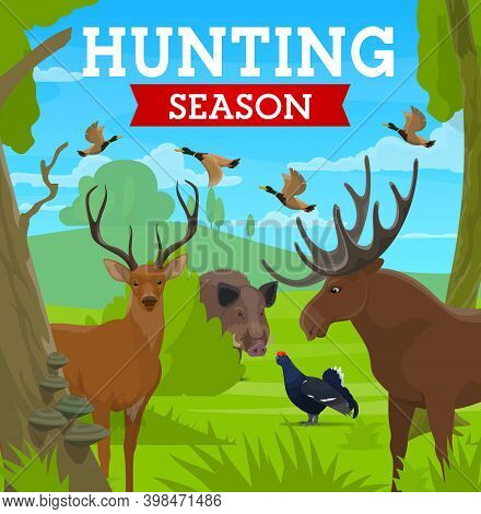 Hunting Season, Hunt For Animals In Wild Forest, Vector Poster. Hunt Open Season For Deer Stag And E