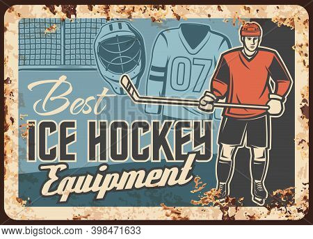 Ice Hockey Clothing And Equipment Store Rusty Metal Plate. Ice Hockey Player In Helmet And Gloves, S