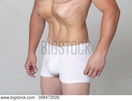 Belly Exercise. Healthy Man Body, Waistline. Slim Male Torso, Waist, Belly, Abdomen. Sport, Fitness,