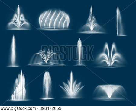 Fountain Water Jets Isolated Vector Cascades And Single Splashing Streams, 3d Water Jets Spurt Up. W