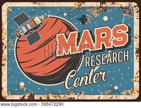 Mars Research Center Vector Rusty Metal Plate. Artificial Interplanetary Satellite Orbiting Alien Pl