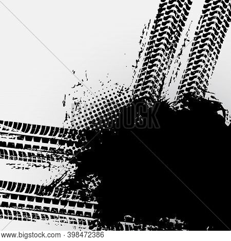 Off Road Car Tire Grunge, Truck Tracks Pattern On White Vector Halftone Background. Black Wheels Dri